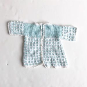 Hand knit cardigan no size but looks 3-6m